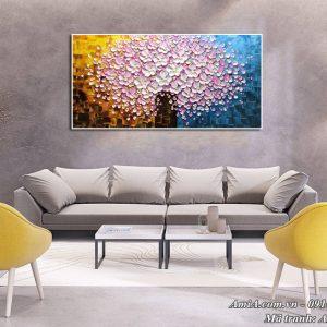 Hình ảnh tranh AmiA 1523 treo phòng khách đẹp bình hoa giả sơn dầu