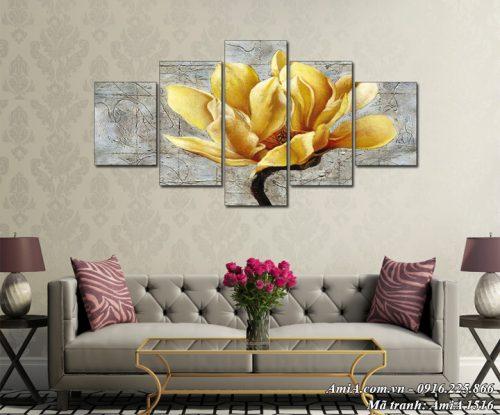 Hình ảnh tranh treo phòng khách Amia 1516 hoa mộc lan vàng