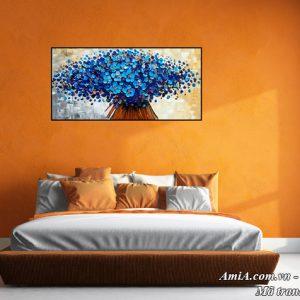 Hình ảnh tranh treo phòng ngủ hoa màu xanh AmiA 1524