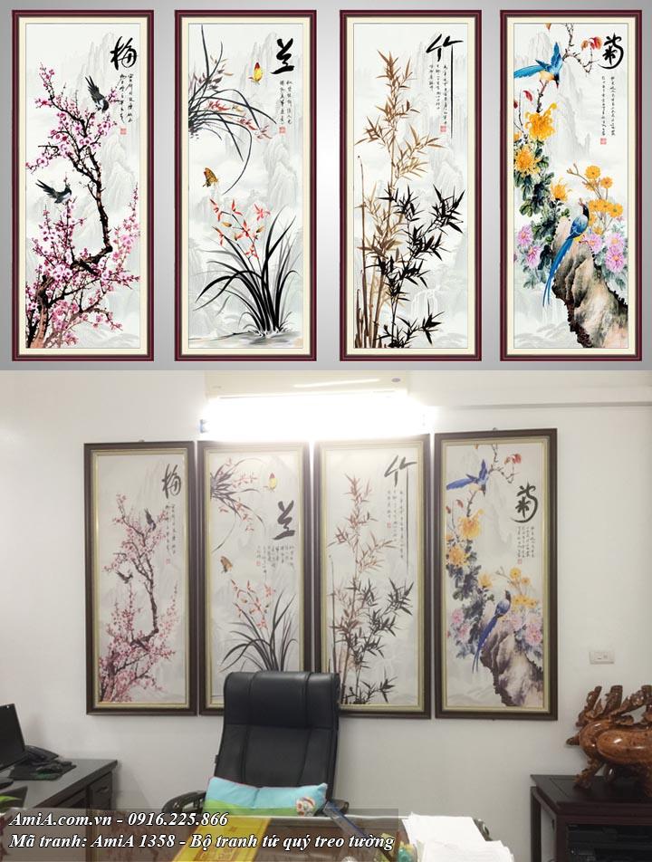 Hình ảnh tranh tứ quý treo tường phòng khách hợp tuổi 1990 tranh tứ quý