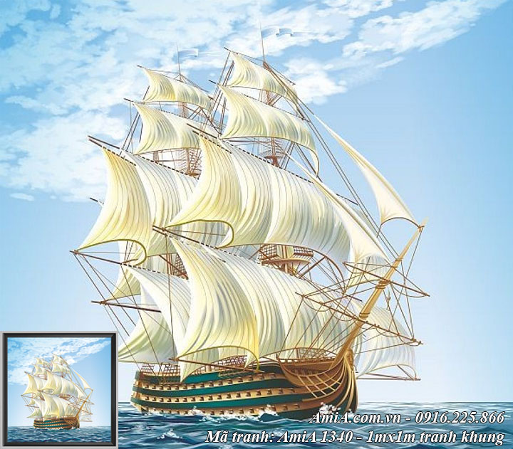 Hình ảnh tranh thuyền buồm xuôi gió trên biển in giả sơn dầu cực đẹp