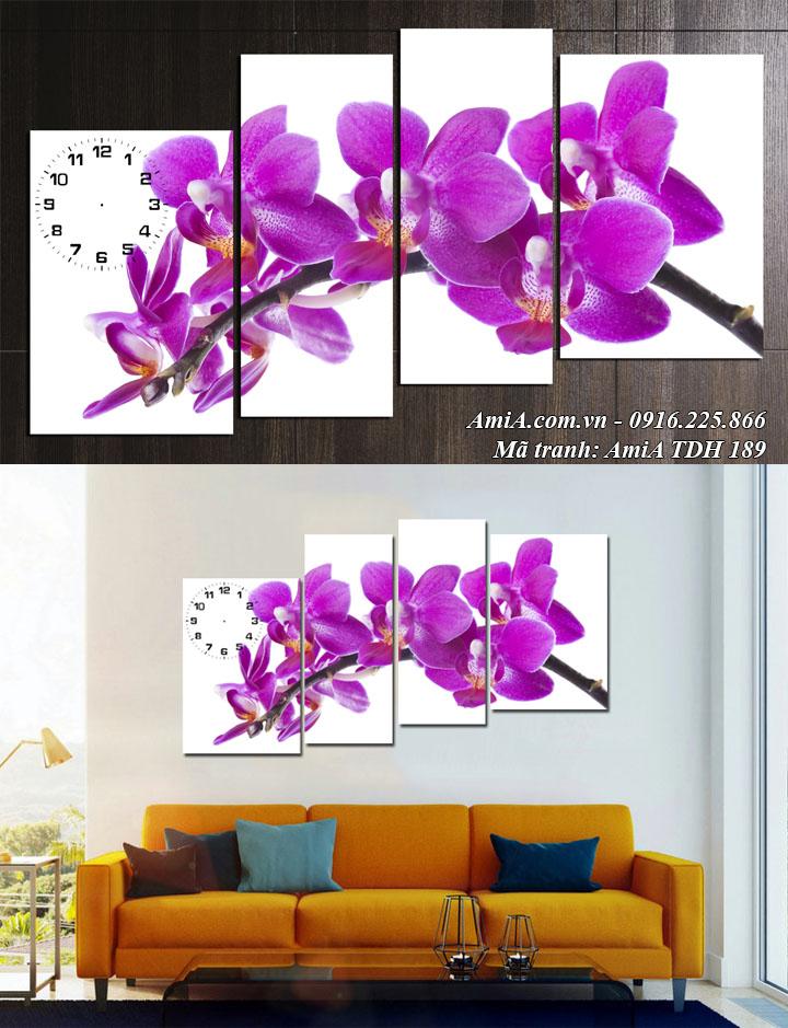 Hình ảnh tranh hoa lan xanh tím đẹp thủy chung mã AmiA 189