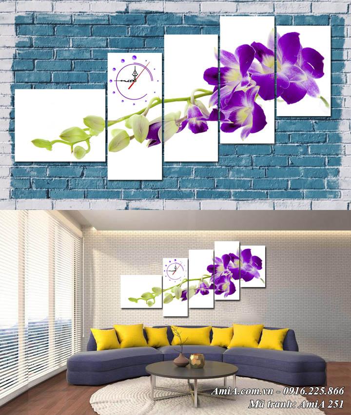 Hình ảnh tranh đồng hồ hoa lan tím ghép 5 tấm hiện đại AmiA 251