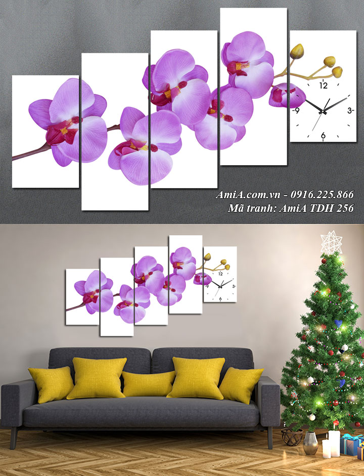 Hình ảnh tranh cành hoa lan màu xanh tím treo phòng khách đẹp Amia 256
