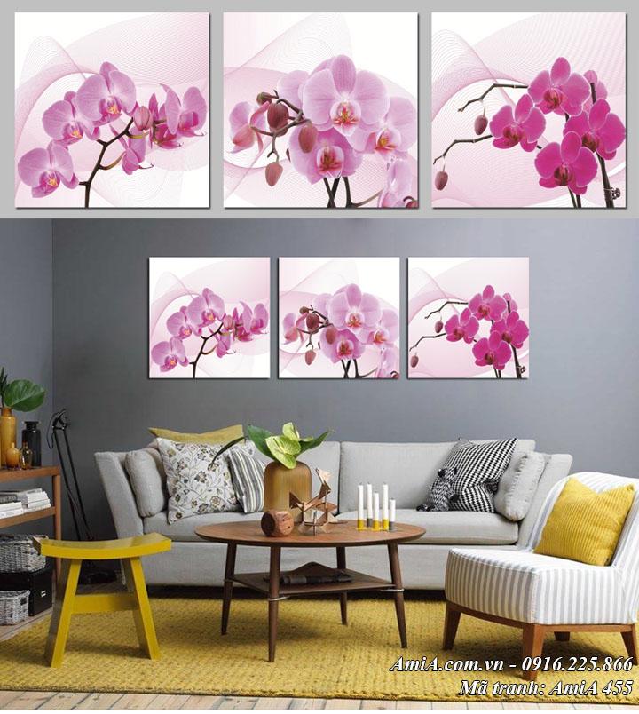 Tranh hoa phong lan tím ghép bộ 3 tấm vuông AmiA 455