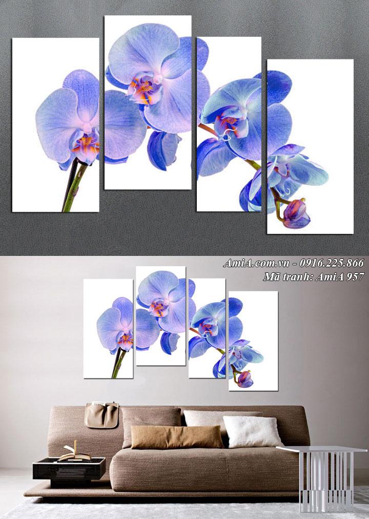 Hình ảnh tranh ghép 4 tấm hoa lan xanh tím treo tường hiện đại AmiA 957