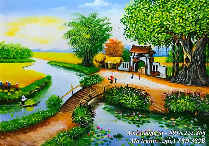 Hình ảnh tranh phong cảnh làng quê cây cầu tre bắc qua sông TSD 382B