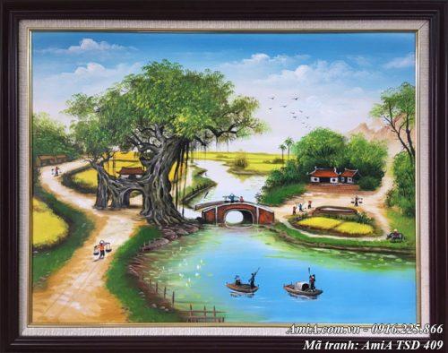 Hình ảnh phong cảnh cánh đồng làng quê sơn dầu TSD 409