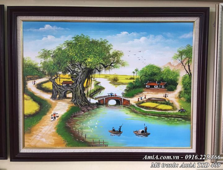 Hình ảnh tranh treo tại cửa hàng sơn dầu bức làng quê khổ nhỏ TSD 409