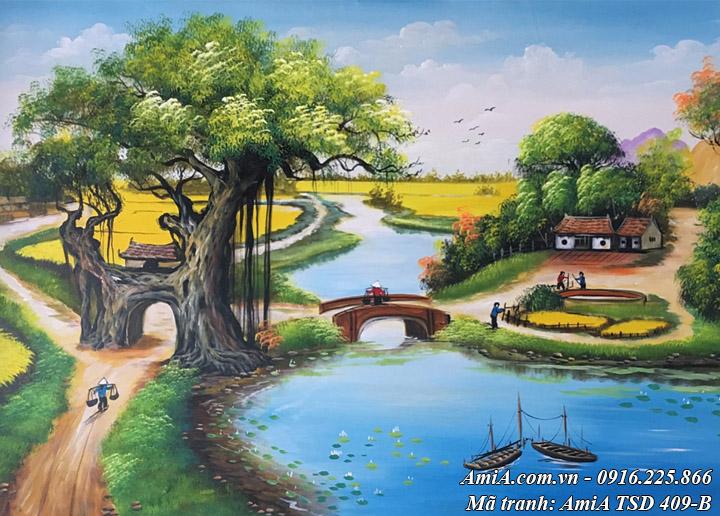 Hình ảnh tranh vẽ sơn dầu khổ nhỏ TSD 409B nông thôn Việt Nam