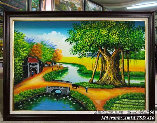 Hình ảnh tranh phong cảnh quê hương vẽ sơn dầu chăn trâu đầu làng