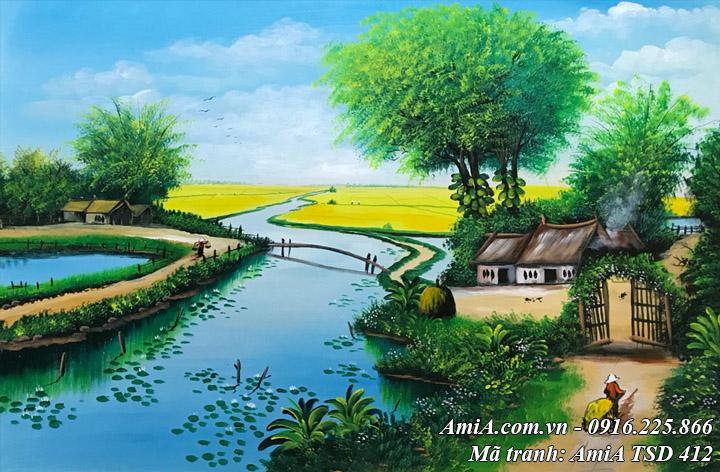 Hình ảnh ngôi nhà nhỏ bên sông vẽ sơn dầu phong cảnh làng quê TSd 412
