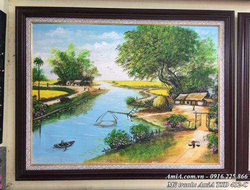 Hình ảnh tranh sơn dầu amia tsd 412 treo tại cửa hàng tranh amia