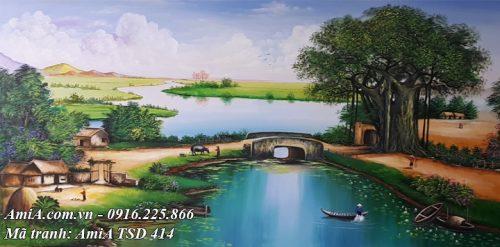 Hình ảnh tranh phong cảnh khổ lớn làng quê việt nam vẽ sơn dầu