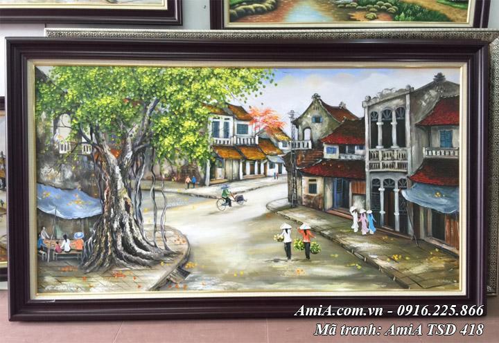 Tranh sơn dầu phong cảnh hà nội tsd 418 chụp tại cửa hàng