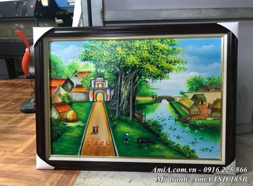 Hình ảnh cửa hàng tranh sơn dầu bán tranh làng quê Việt Nam khổ nhỏ AmiA TSD 185B