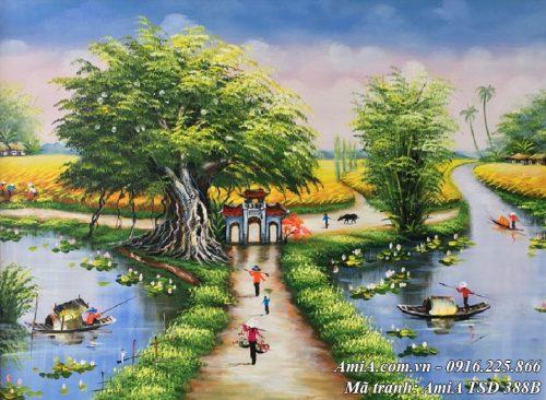 Tranh Amia TSD 388B mẫu sơn dầu đẹp phong cảnh làng quê khổ nhỏ