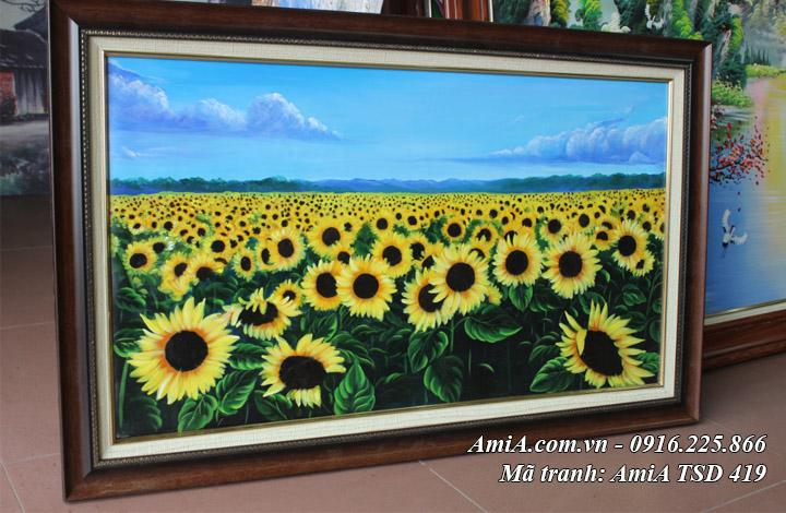 Hình ảnh tranh phong cảnh cánh đồng hoa hướng dương vẽ sơn dầu