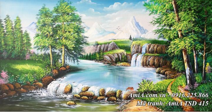 Hình ảnh tranh sơn dầu TSD 415 rừng cây suối nước vẽ sơn dầu