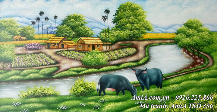 Hình ảnh tranh phong cảnh đồng quê trâu gặm cỏ vẽ sơn dầu TSD 336