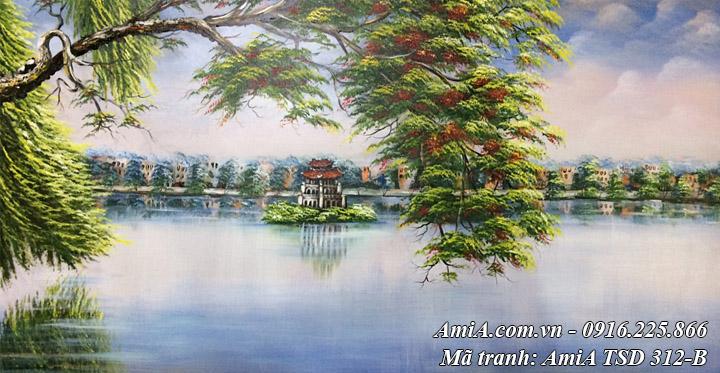 Hình ảnh tranh sơn dầu phong cảnh hồ gươm tháp rùa khổ lớn TSD 312B