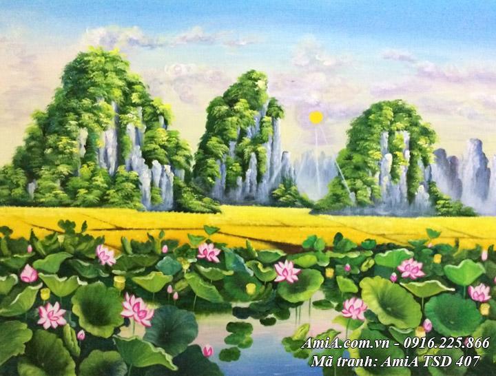 Hình ảnh phong cảnh đầm Sen đẹp vẽ sơn dầu khổ nhỏ TSD 407