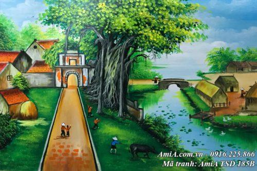 Hình ảnh làng quê đẹp Việt Nam khổ nhỏ sơn dầu TSD 185B