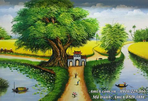 Hình ảnh tranh làng quê phong cảnh sơn dầu khổ nhỏ TSD 388C
