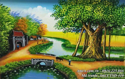 Hình ảnh phong cảnh sơn dầu quê hương chăn trâu đầu làng TSD 410