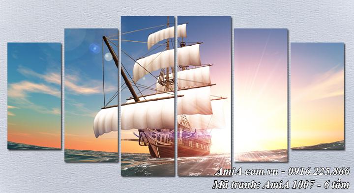 Hình ảnh tranh phong cảnh thuyền ra khơi buổi sáng Amia 1007 bộ 6 tấm