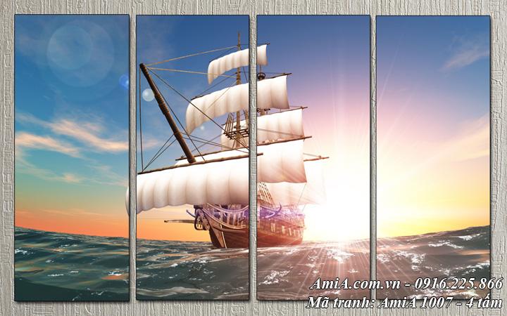 Tranh phong cảnh thuyền biển AmiA 1007 bộ 4 tấm