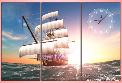 Hình ảnh tranh phong cảnh thuyền biển ra khơi dưới nắng mặt trời AmiA 1007