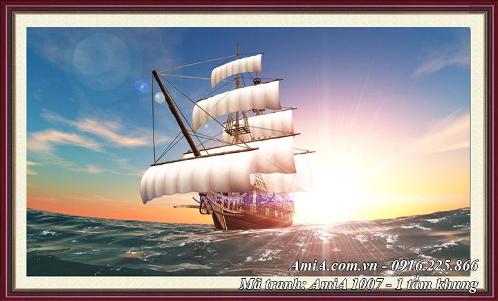 Hình ảnh tranh phong cảnh thuyền biển ra khơi khổ lớn có khung một tấm Amia 1007