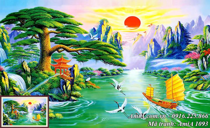 Hình ảnh tranh phong cảnh đẹp thuận buồm xuôi gió ý nghĩa AmiA 1093