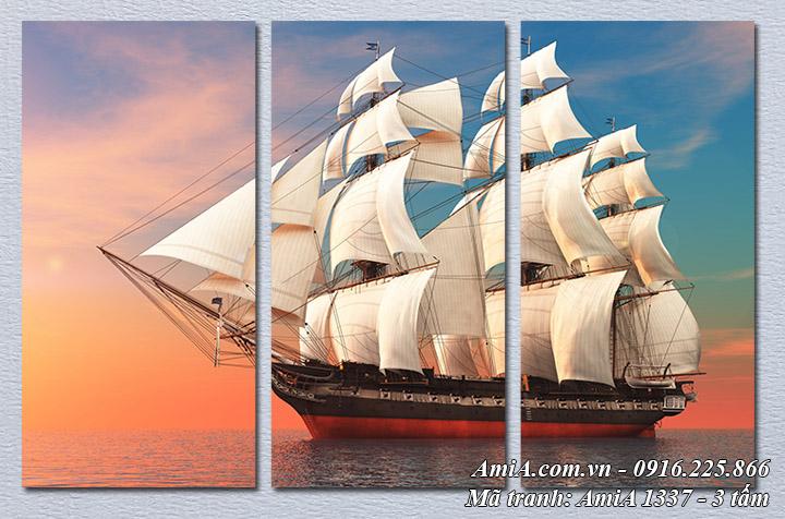 Hình ảnh tranh thuyền buồm làm theo yêu cầu ghép 3 tấm Amia 1337