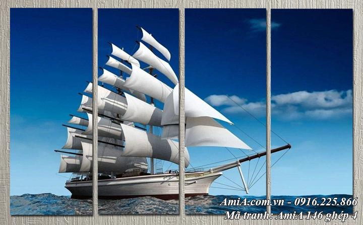 Hình ảnh tranh AmiA 146 thuân buồm xuôi gió ghép 4 tấm làm theo yêu cầu