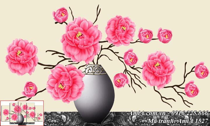 Hình ảnh mẫu tranh amia 1527 làm theo yêu cầu bình hoa hồng Pháp một tấm