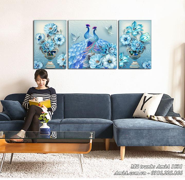 Hình ảnh tranh treo tường phòng khách AmiA 1531 ý nghĩa