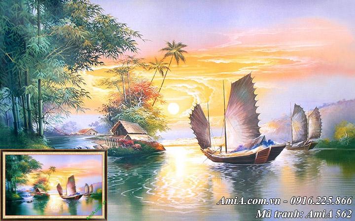Hình ảnh thuận buồm xuôi gió giả sơn dầu cực đẹp AmiA 562