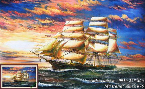 Hình ảnh tranh phong cảnh đẹp thuyền và biển AmiA 676
