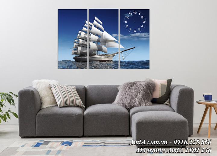 Hình ảnh tranh thuận buồm xuôi gió đẹp nhất Amia 146 có đồng hồ