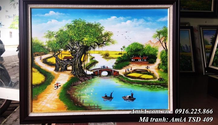 Hình ảnh amia tsd 409 phong cảnh làng quê em khổ nhỏ sơn dầu