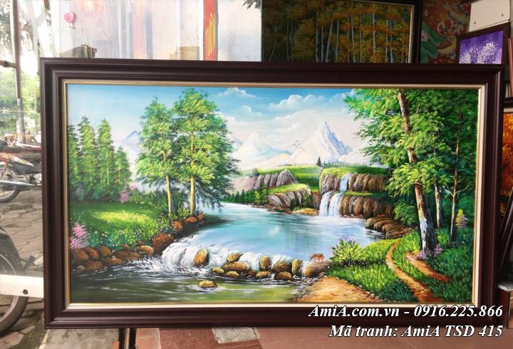 Hình ảnh tranh sơn dầu rừng cây suối nước may mắn tài lộc AmiA TSD 415