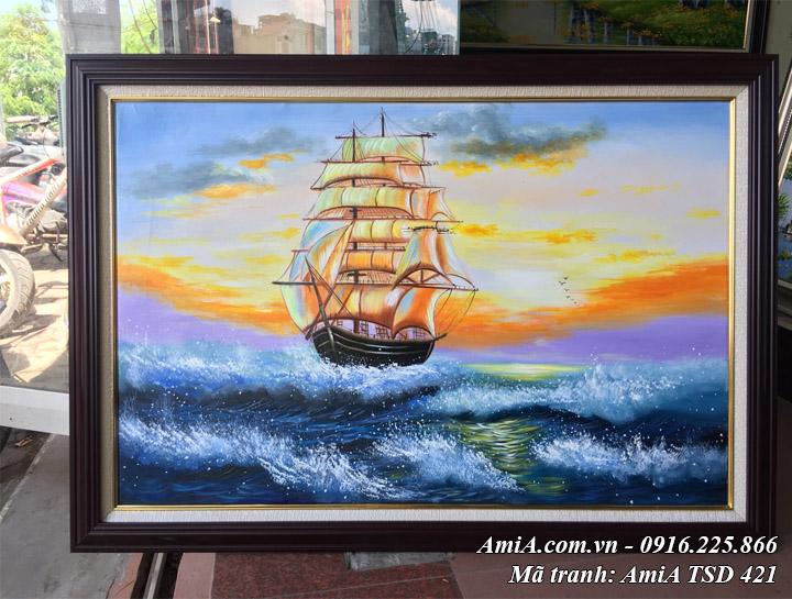 Hình ảnh tranh sơn dầu TSD 421 phong cảnh thuận buồm xuôi gió sơn dầu