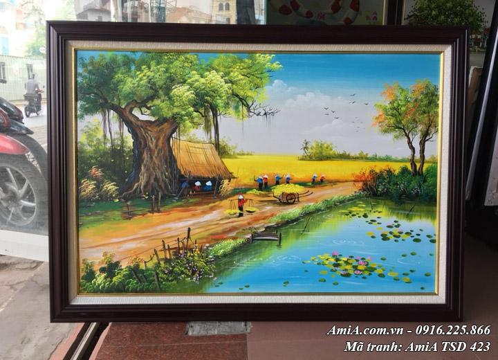 Hình ảnh tranh quê hương ngày mùa bội thu TSD 423 tại cửa hàng