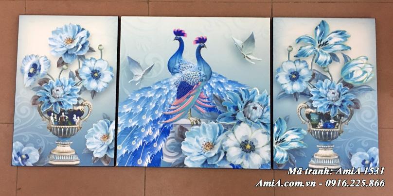 Bộ tranh bình chim công Amia 1531 thực tế ở cửa hàng tranh AmiA
