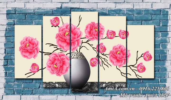 Hình ảnh tranh AmiA 1527 tranh bình hoa hồng Pháp đẹp ý nghĩa