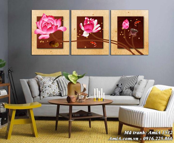 Tranh treo phòng khách AmiA 1532 hoa sen nghệ thuật