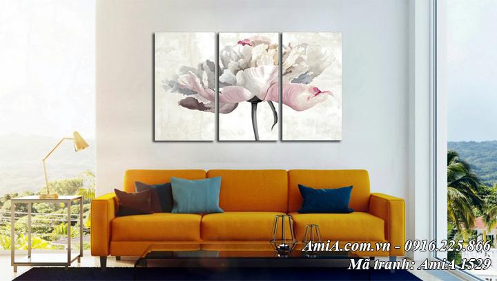 Hình ảnh tranh hoa treo phòng khách nghệ thuật giả sơn dầu Amia 1529