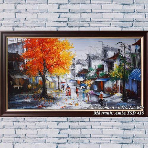 Hình ảnh tranh khổ lớn phố cổ mùa Thu Hà Nội sơn dầu